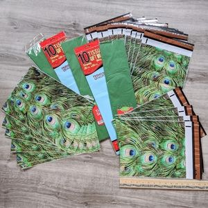 💎New peacock package lot mailers + tissue